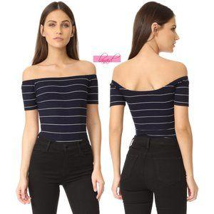 Capulet Off-The-Shoulder Bodysuit Navy Striped Top